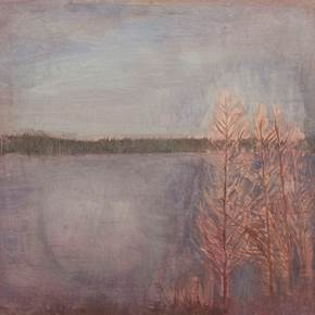Four trees by a lake in Sweden (2 of 2), original Landscape Oil Painting by Taha Afshar