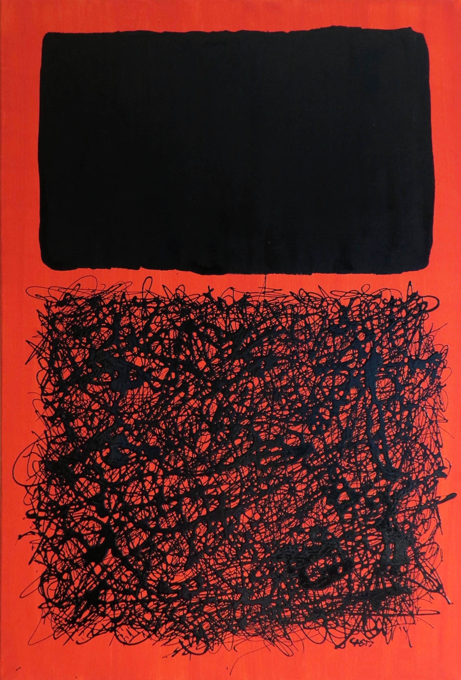 Black on Orange nº1, original Abstract Canvas Painting by Hugo Castilho