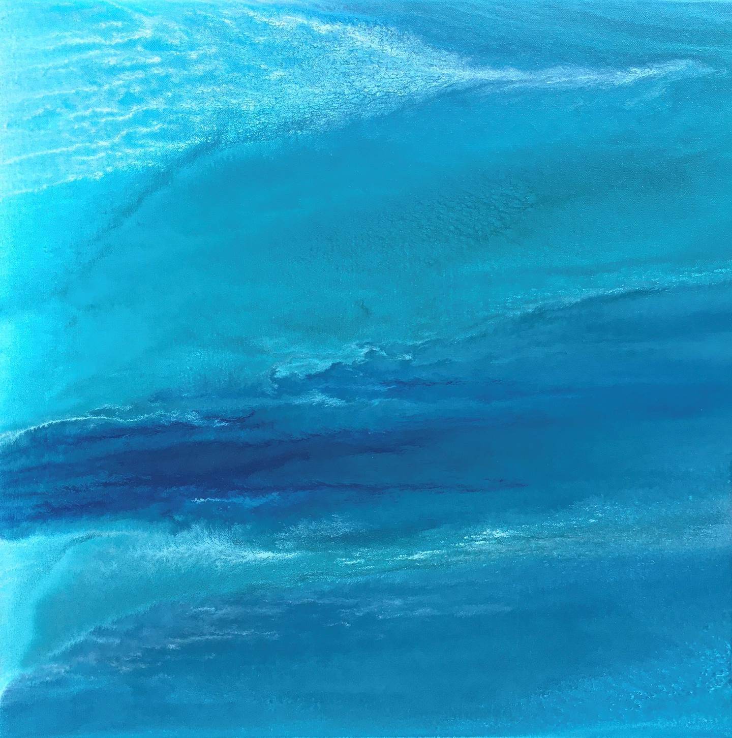 """Oceano Índico (Lohifushi, Maldivas)"", original Abstract Mixed Technique Painting by Catarina Machado"