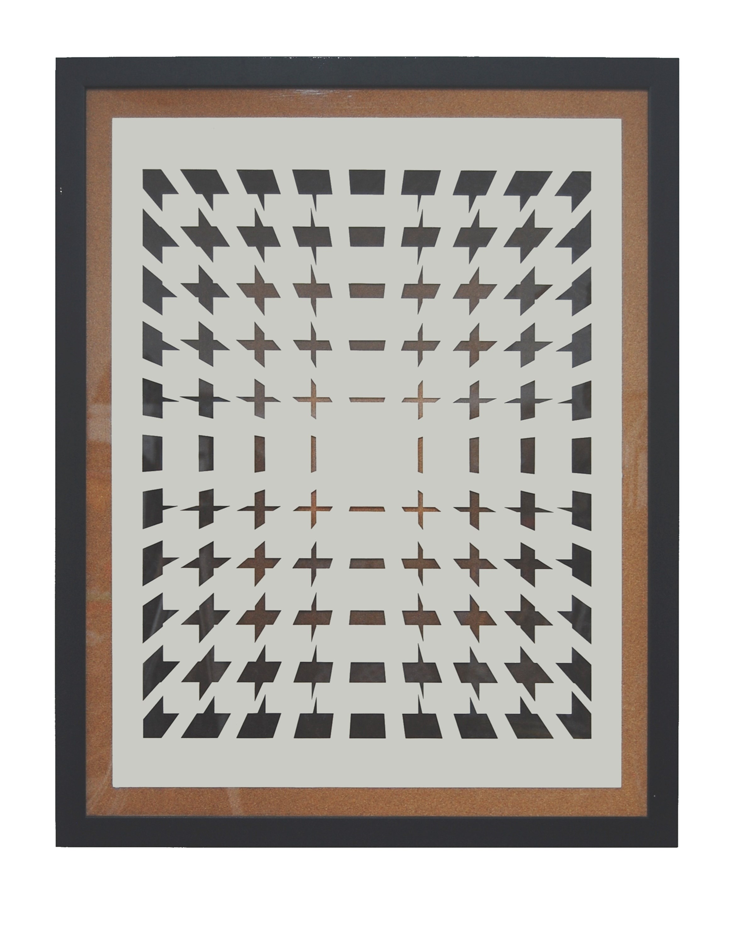 Field of Crosses, original Geometric Mixed Technique Painting by David Barnes