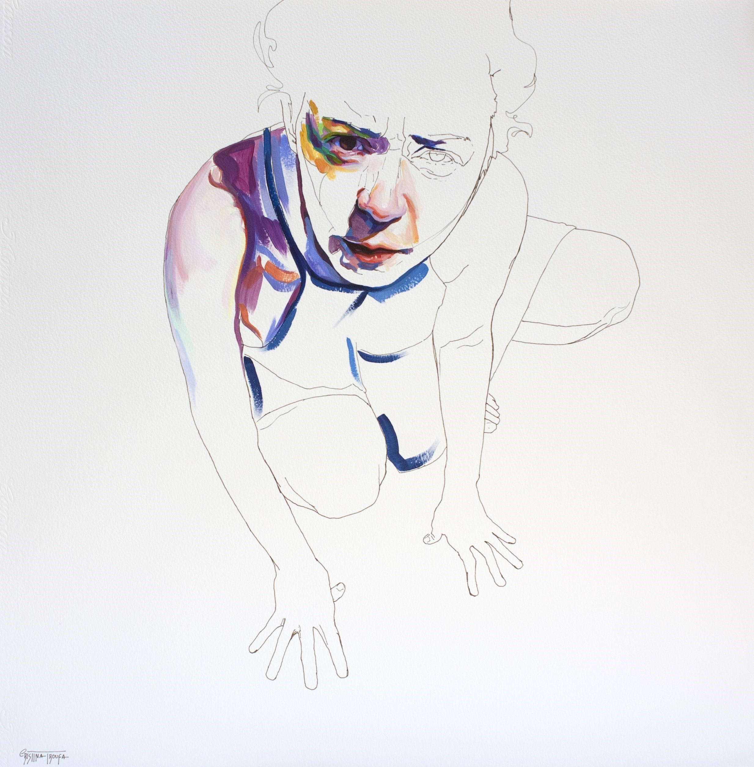 Exercício #7, original Body Acrylic Drawing and Illustration by Cristina  Troufa