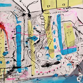 City Maps #1, original Abstract Acrylic Painting by Flavio Man