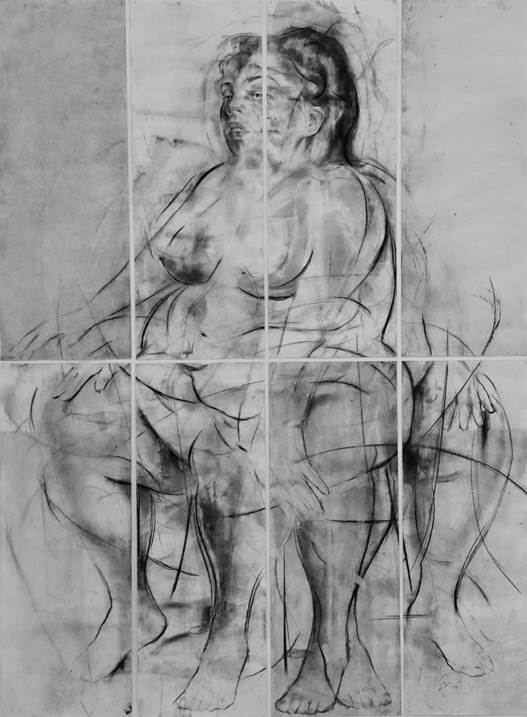 Erota (seated muse'3), original Body Charcoal Drawing and Illustration by Juan Domingues