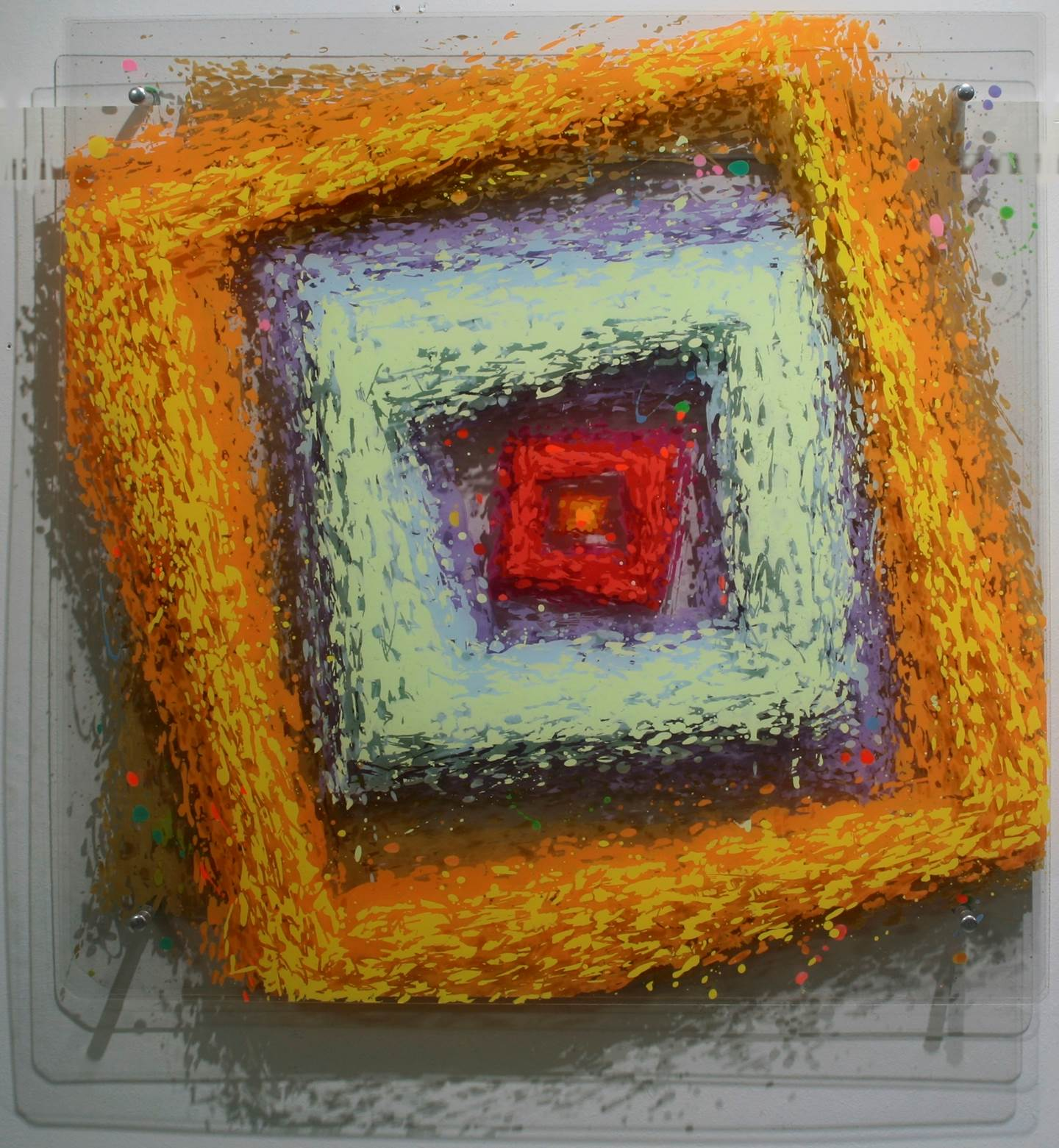 Square Flower #4, original Abstract Acrylic Sculpture by Yury  Darashkevich
