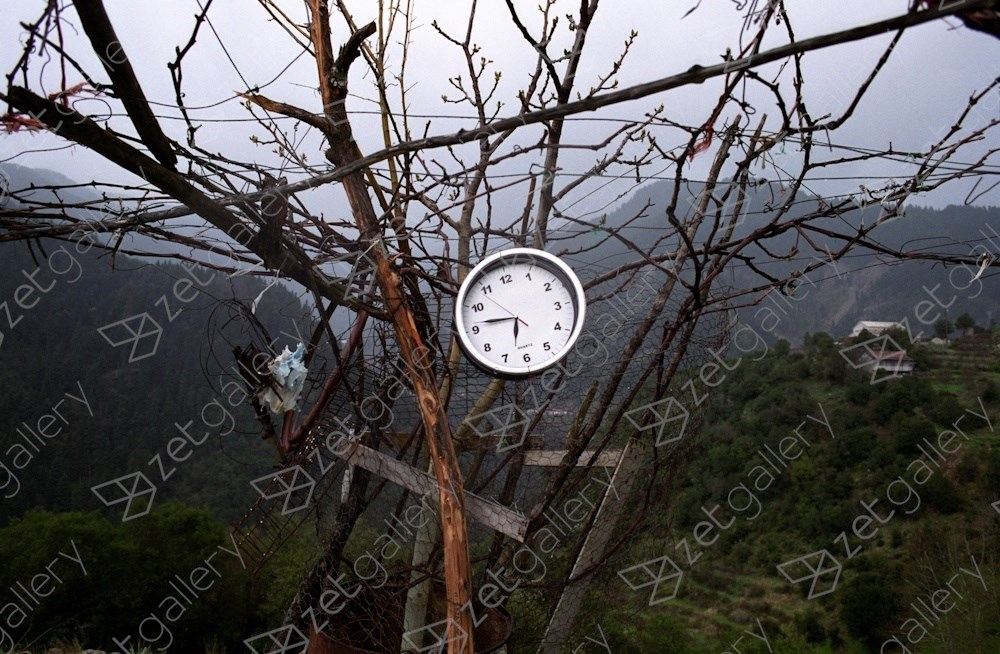 Roadside clock, central Greece, original Landscape Analog Photography by Dimitri Mellos