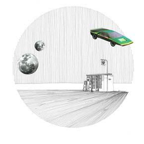 Alfa Romeo Bertone Carabo, original Architecture Collage Drawing and Illustration by Florisa Novo Rodrigues