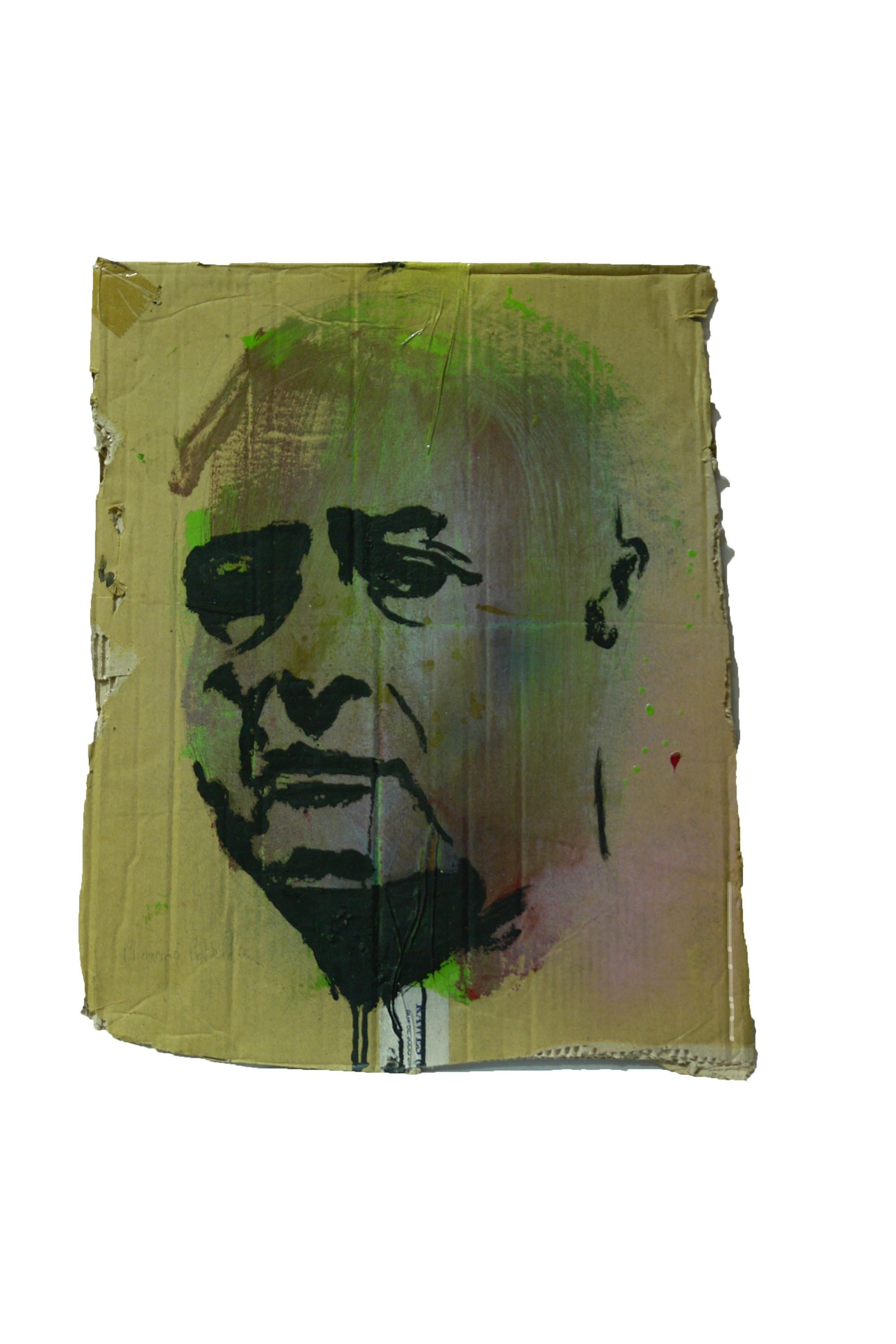 Mimmo Rotella, original Portrait Mixed Technique Painting by Alexandre Rola
