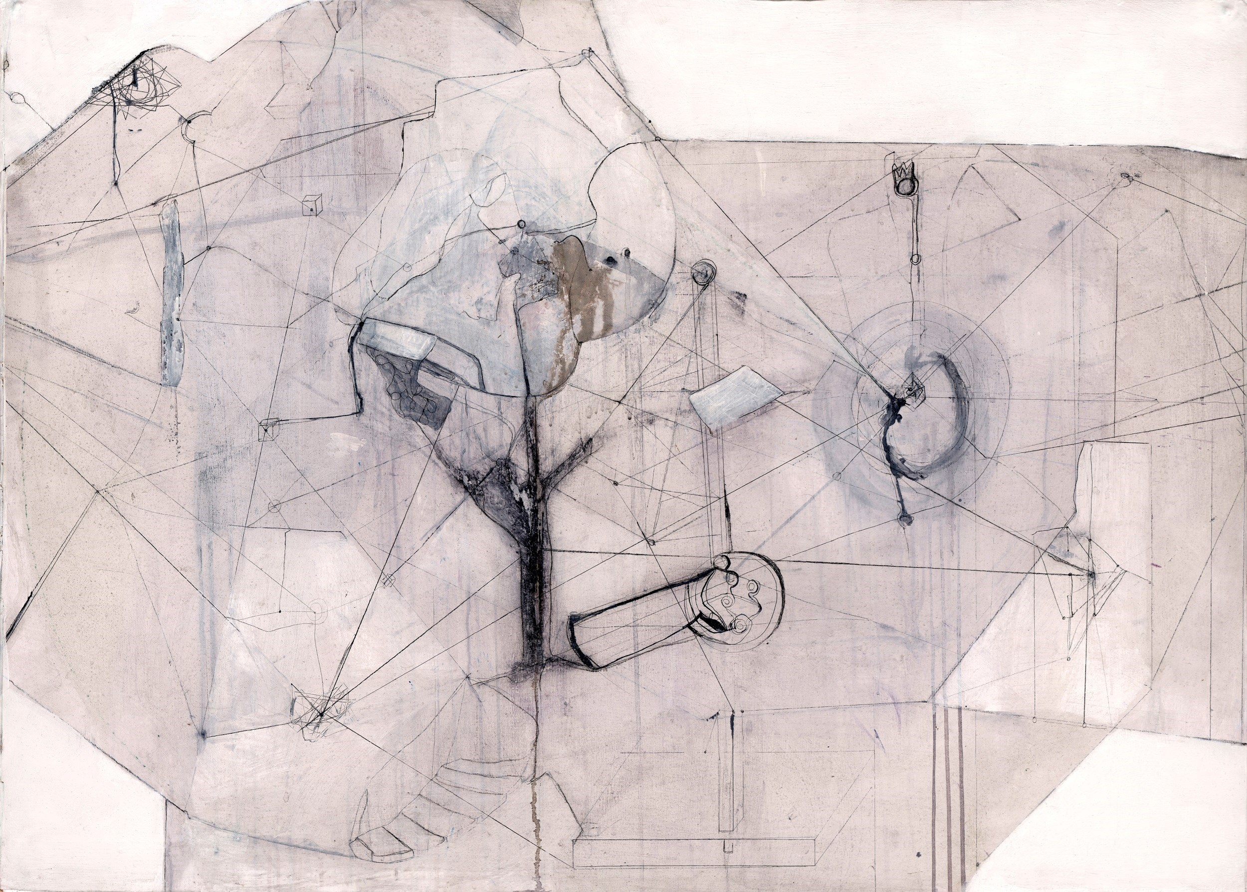 Architectural system organism machine 2, original Abstract Acrylic Drawing and Illustration by Simis Gatenio