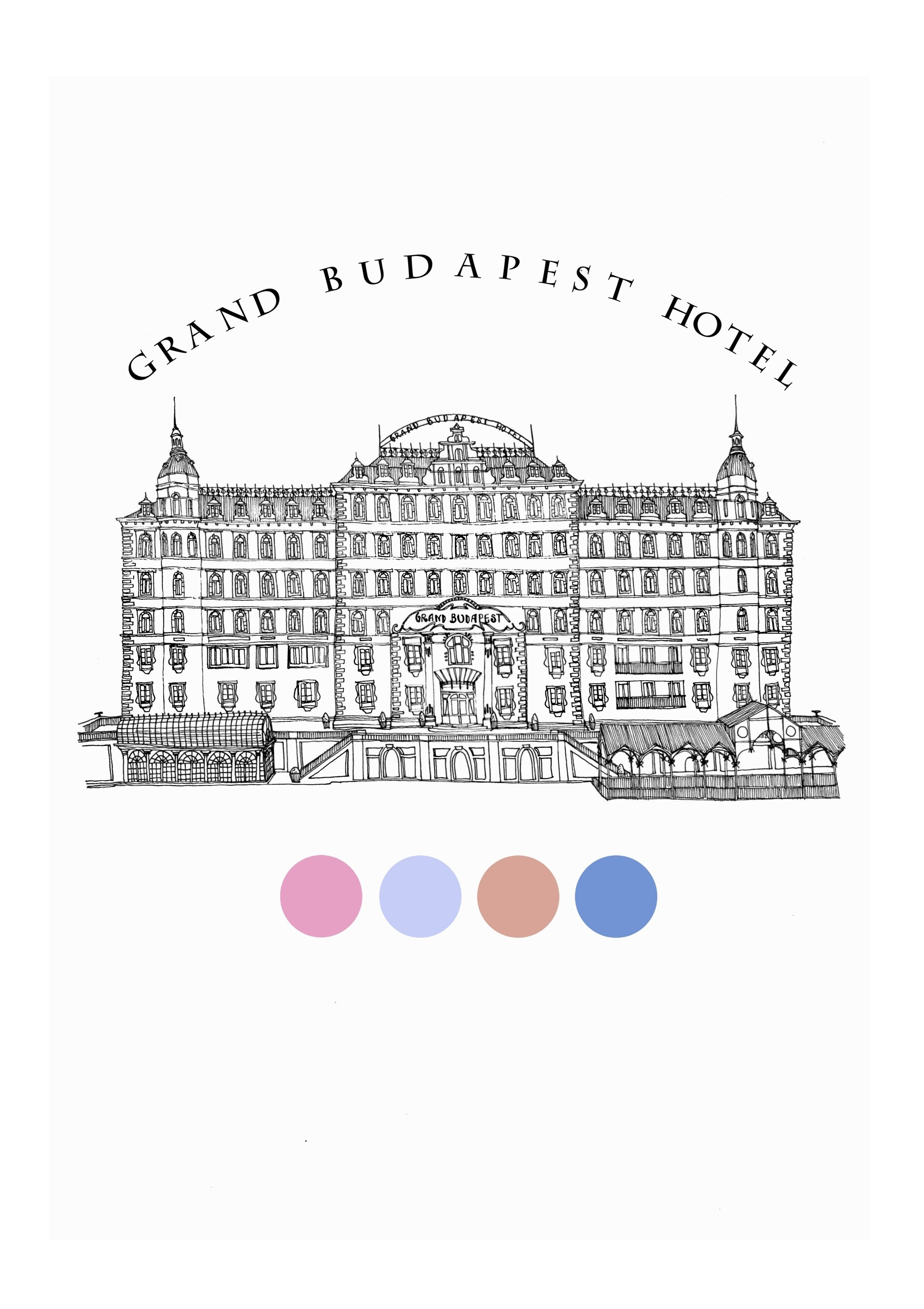 Hotel Budapeste, original Places Pen Drawing and Illustration by Florisa Novo Rodrigues