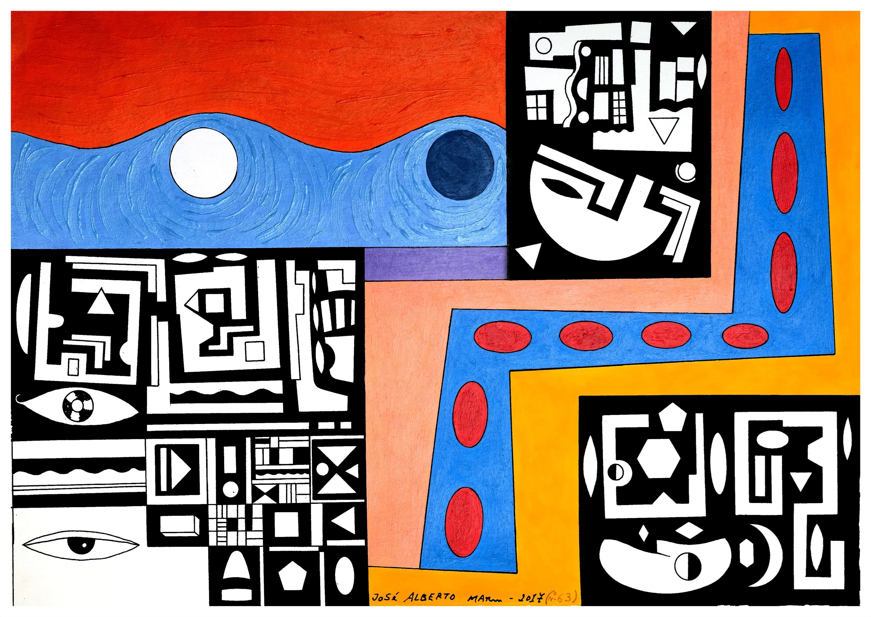 Série: pequenas sabedorias. Series: small wisdoms (Nº63), original Geometric Acrylic Painting by José Alberto Mar
