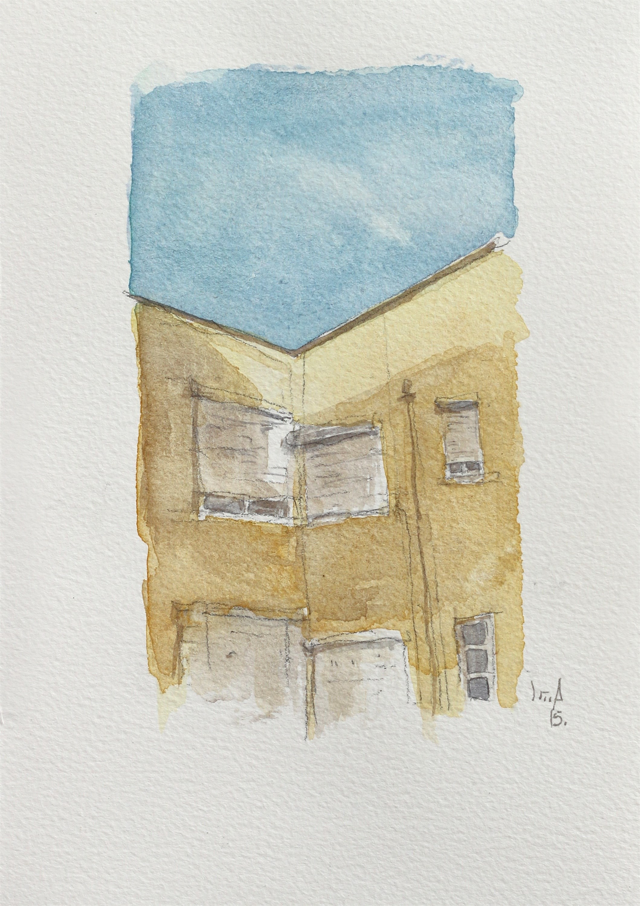 Sesta, original Architecture Watercolor Drawing and Illustration by João Gil Antunes