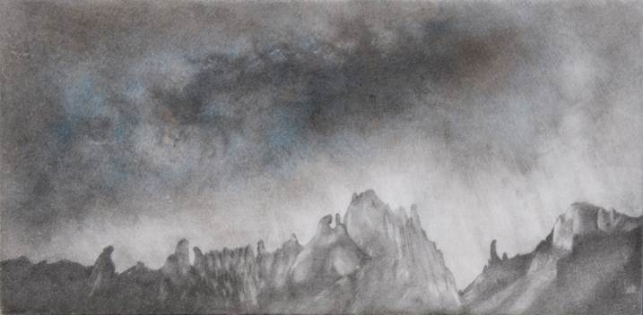 Allò que ens uneix als estels I, original Landscape Mixed Technique Drawing and Illustration by ELENA KERVINEN