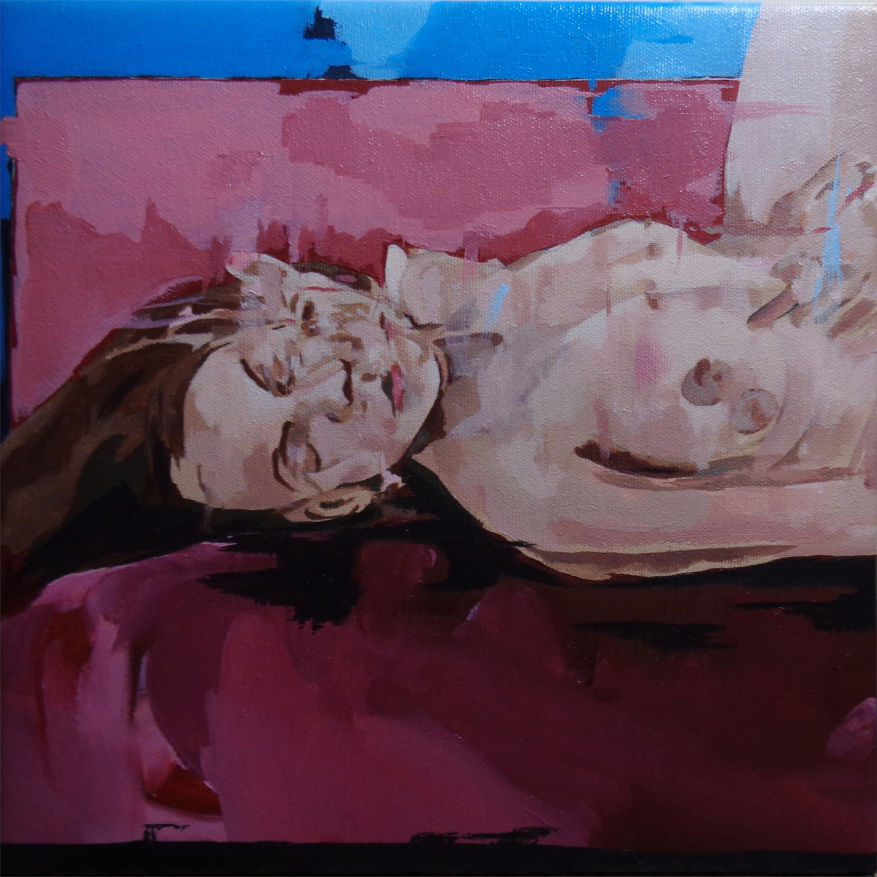Figure on bed, original Body Oil Painting by João Teixeira