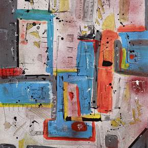 City Maps #2, original Abstract Acrylic Painting by Flavio Man