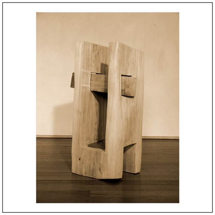 Intersection, original Big Wood Sculpture by Volker Schnüttgen