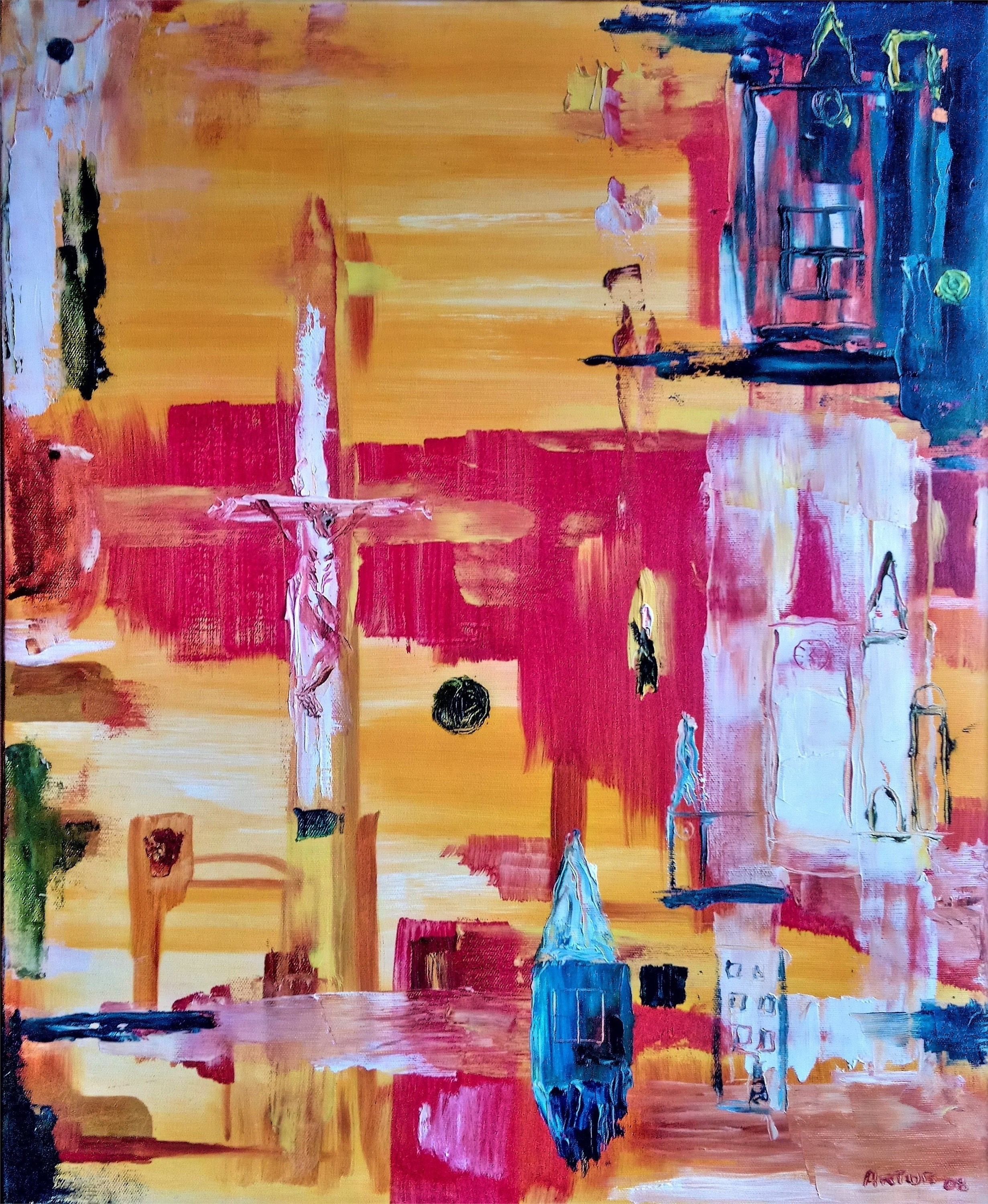 Cristo, original Abstract Oil Painting by Artur Efigénio