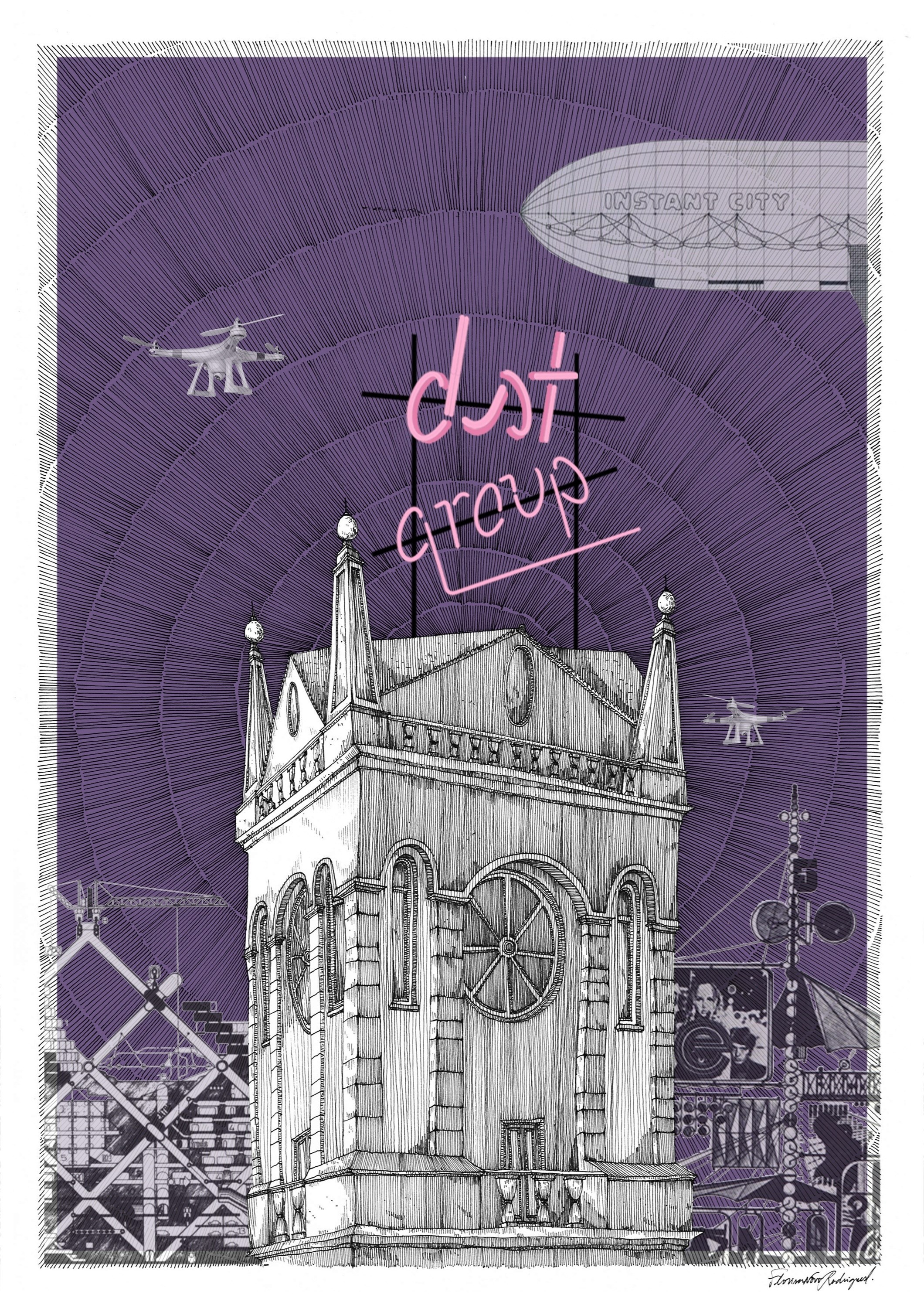DST imaginada, contracapa, original Architecture Pen Drawing and Illustration by Florisa Novo Rodrigues