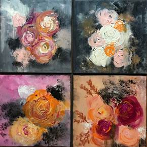 FLOWER OBSSESION, original Abstract Canvas Painting by Tânia  Reis