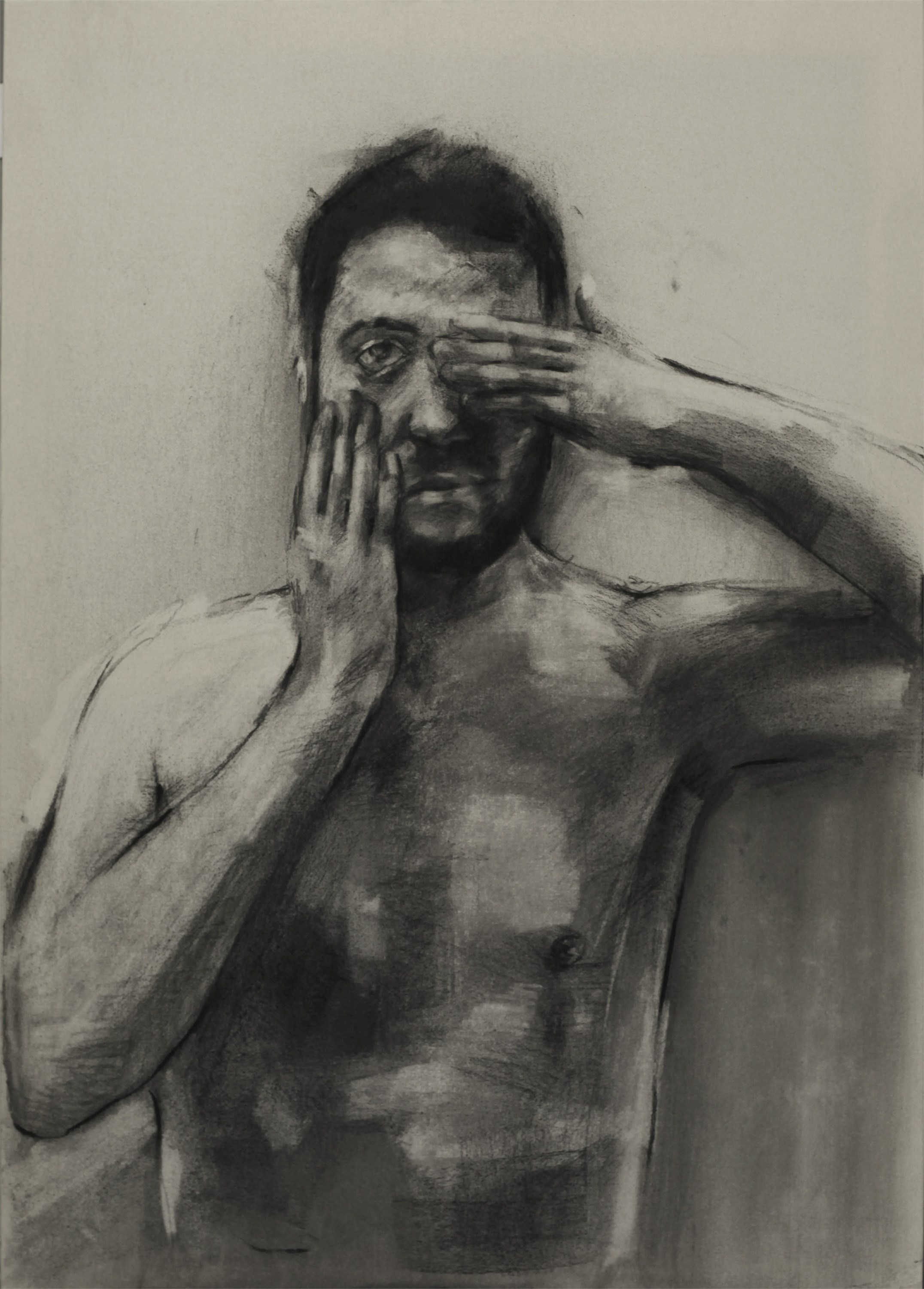 Portrait of I., original B&W Canvas Drawing and Illustration by Giorgos Kapsalakis
