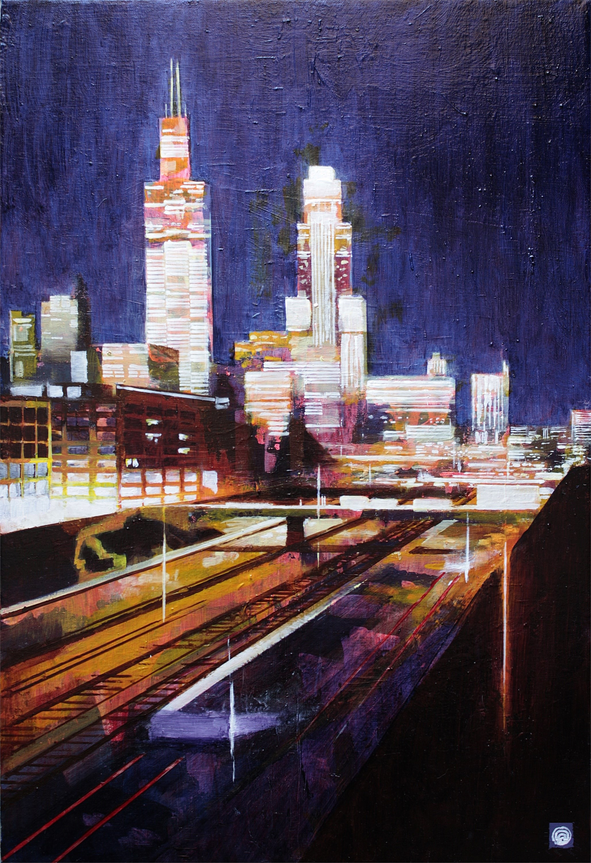 City Lights, original Landscape Oil Painting by Fernando Teixeira