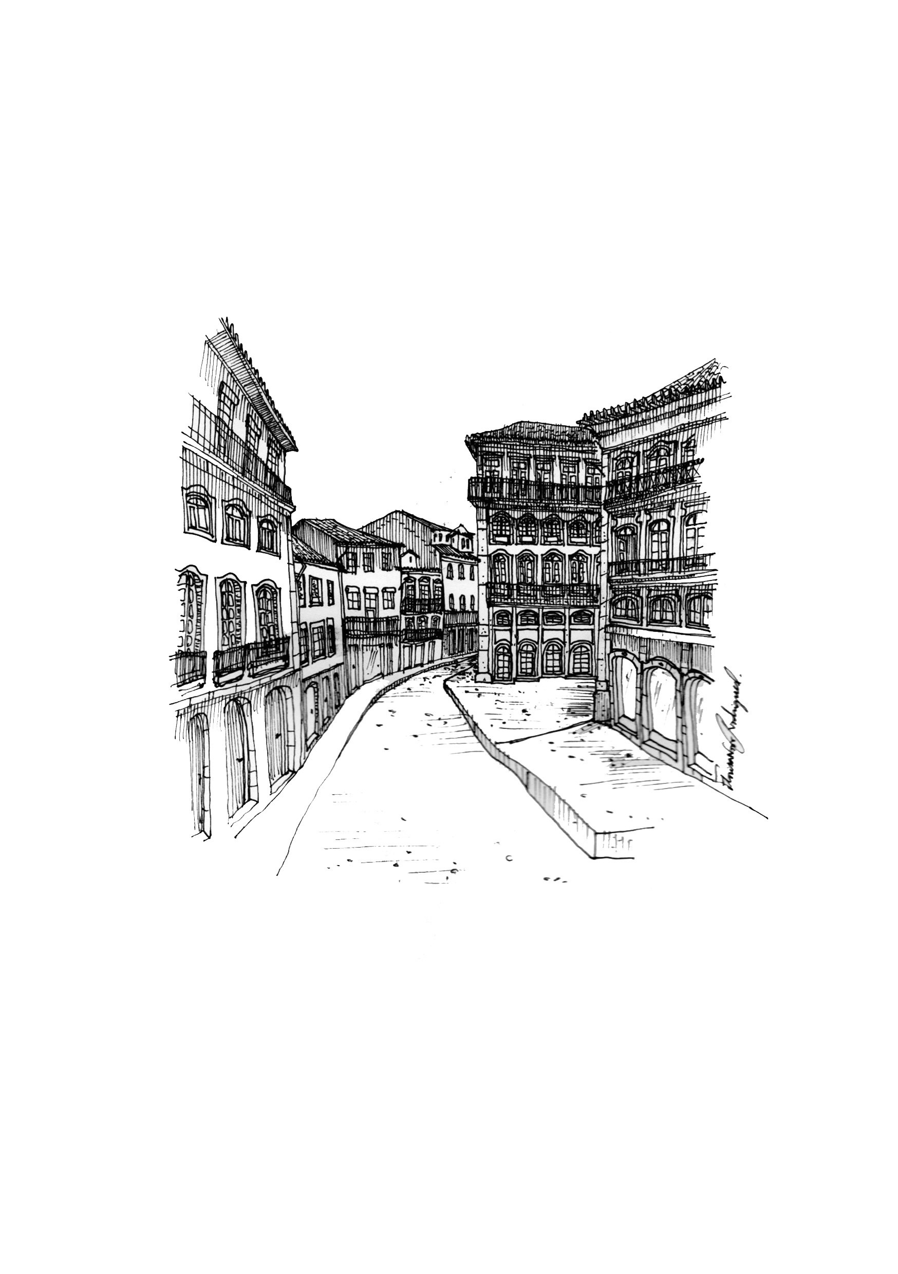 Esquisso 5, original Places Pen Drawing and Illustration by Florisa Novo Rodrigues