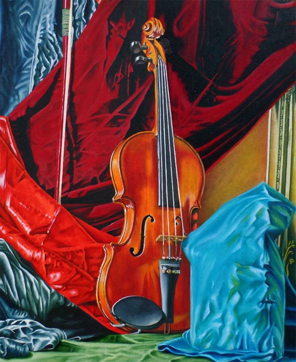 Still nature with violin and bow, original Still Life Canvas Painting by Julian Arsenie