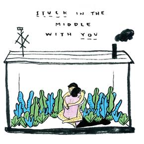 Here I am stuck in the middle with you, original Human Figure Printing Drawing and Illustration by Shut Up  Claudia