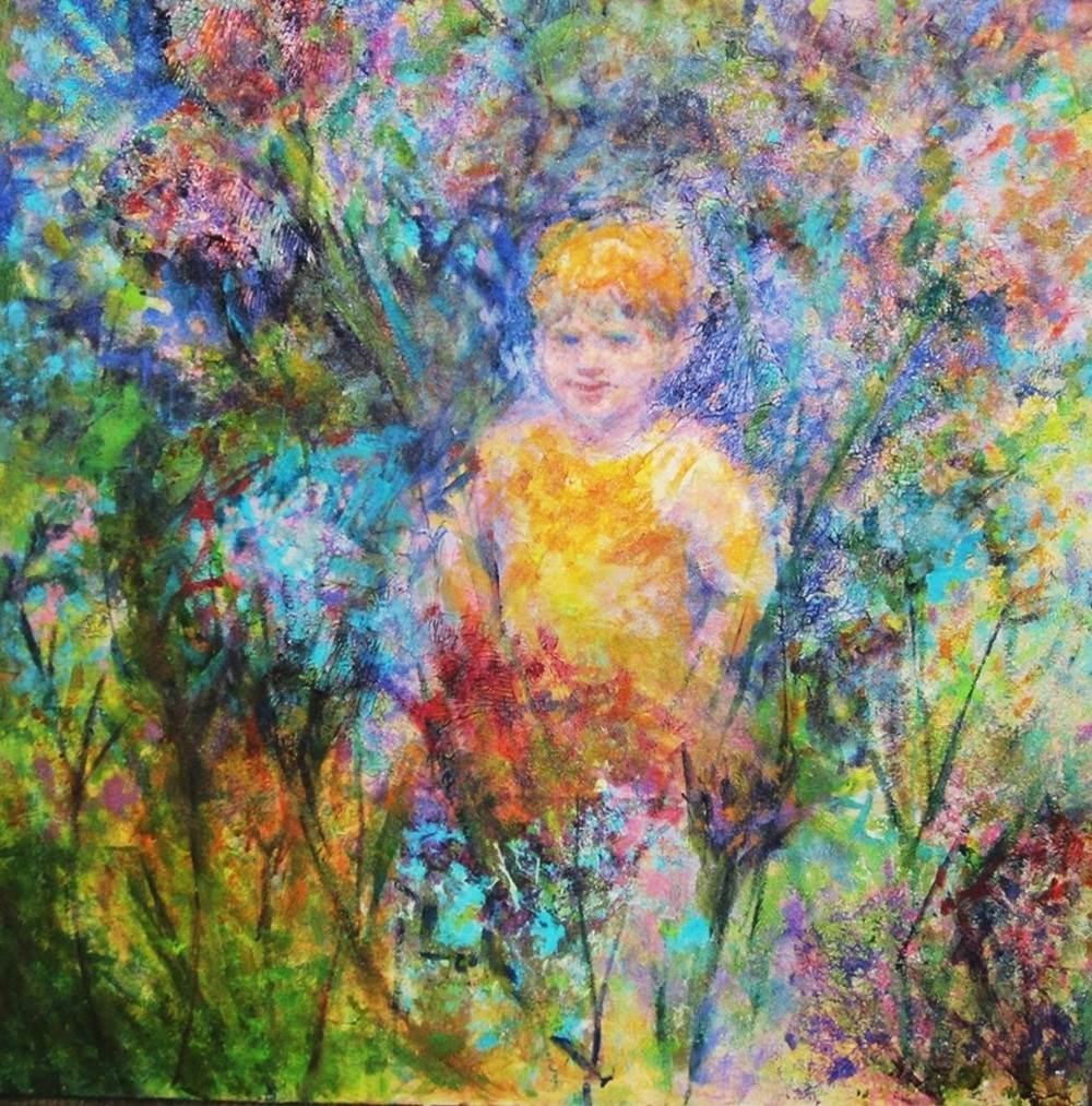 In the Garden, original Nature Acrylic Painting by Connie Freid