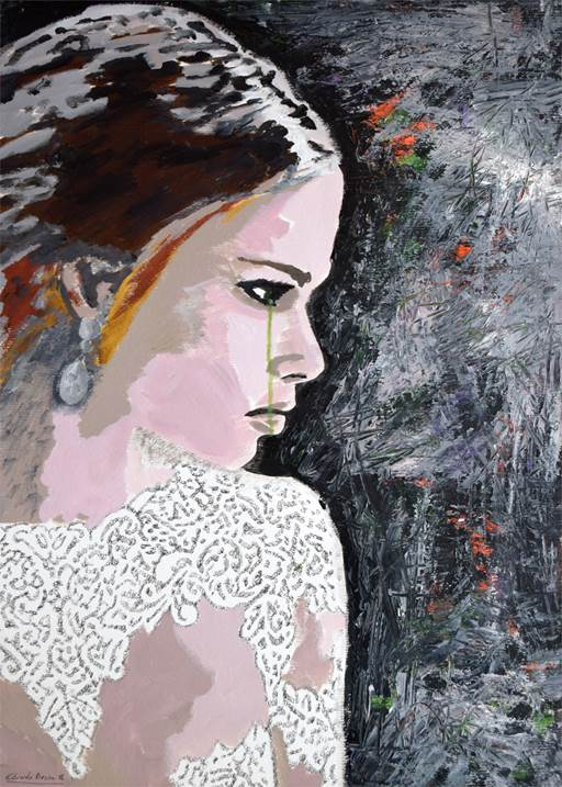 The bride, original Woman Acrylic Painting by Eduardo Bessa