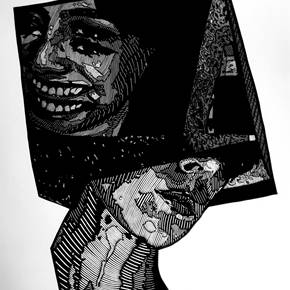 Cubo, original Human Figure Woodcut Drawing and Illustration by Humberto Valdez