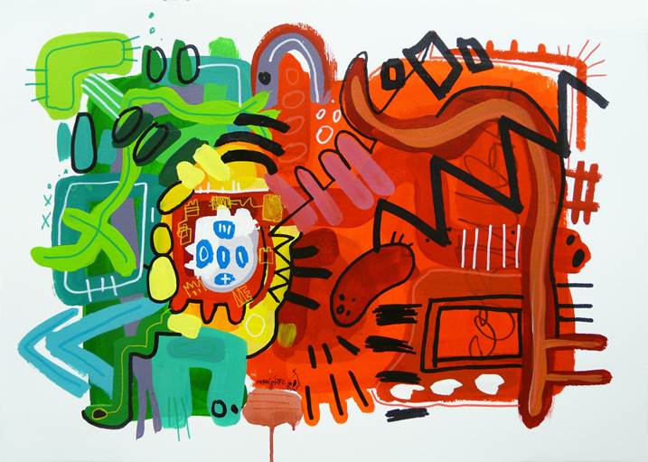 Portuguese homeworks I, original Abstract Mixed Technique Painting by Rafa López