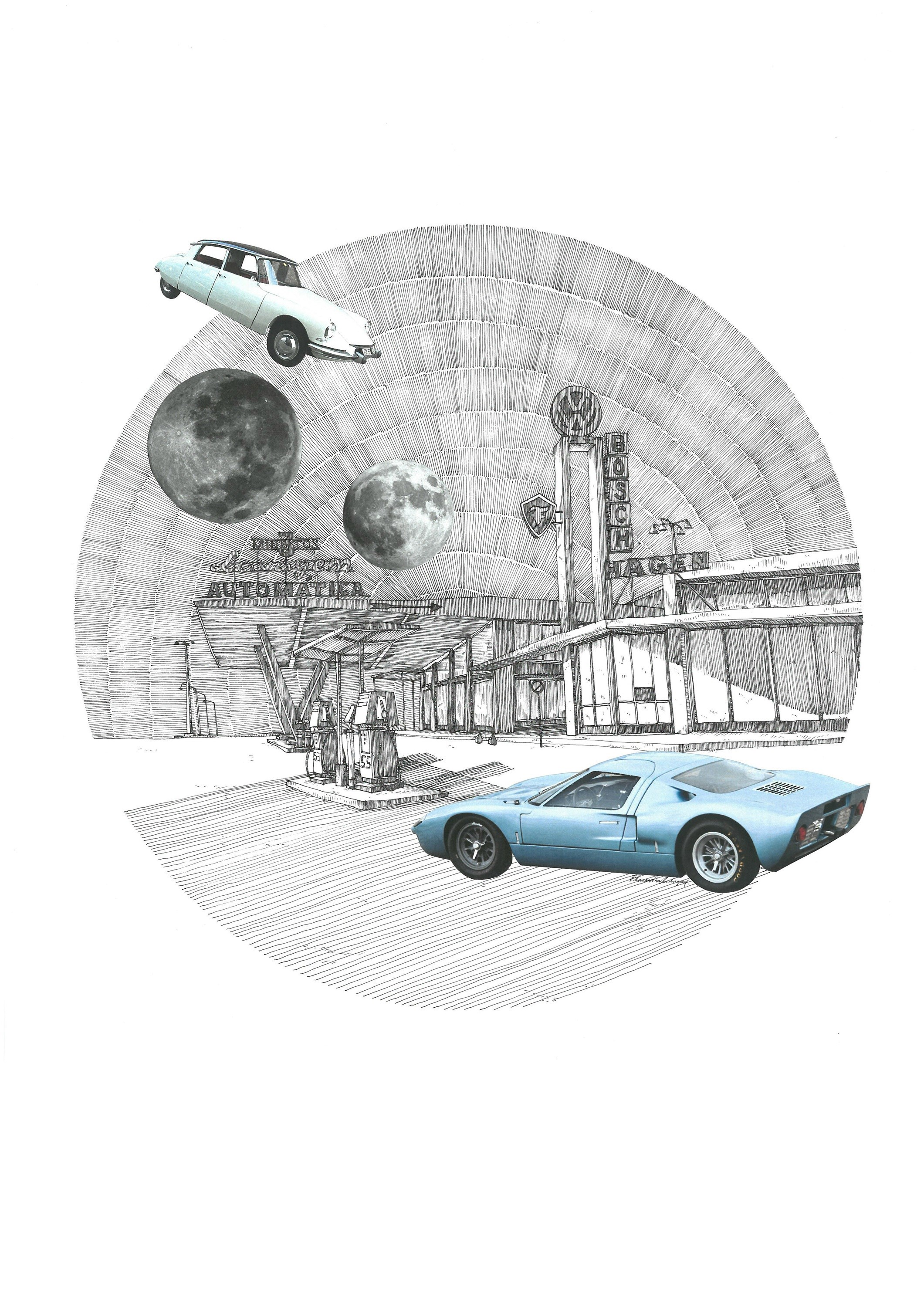 Ford GT 40, original Architecture Collage Drawing and Illustration by Florisa Novo Rodrigues