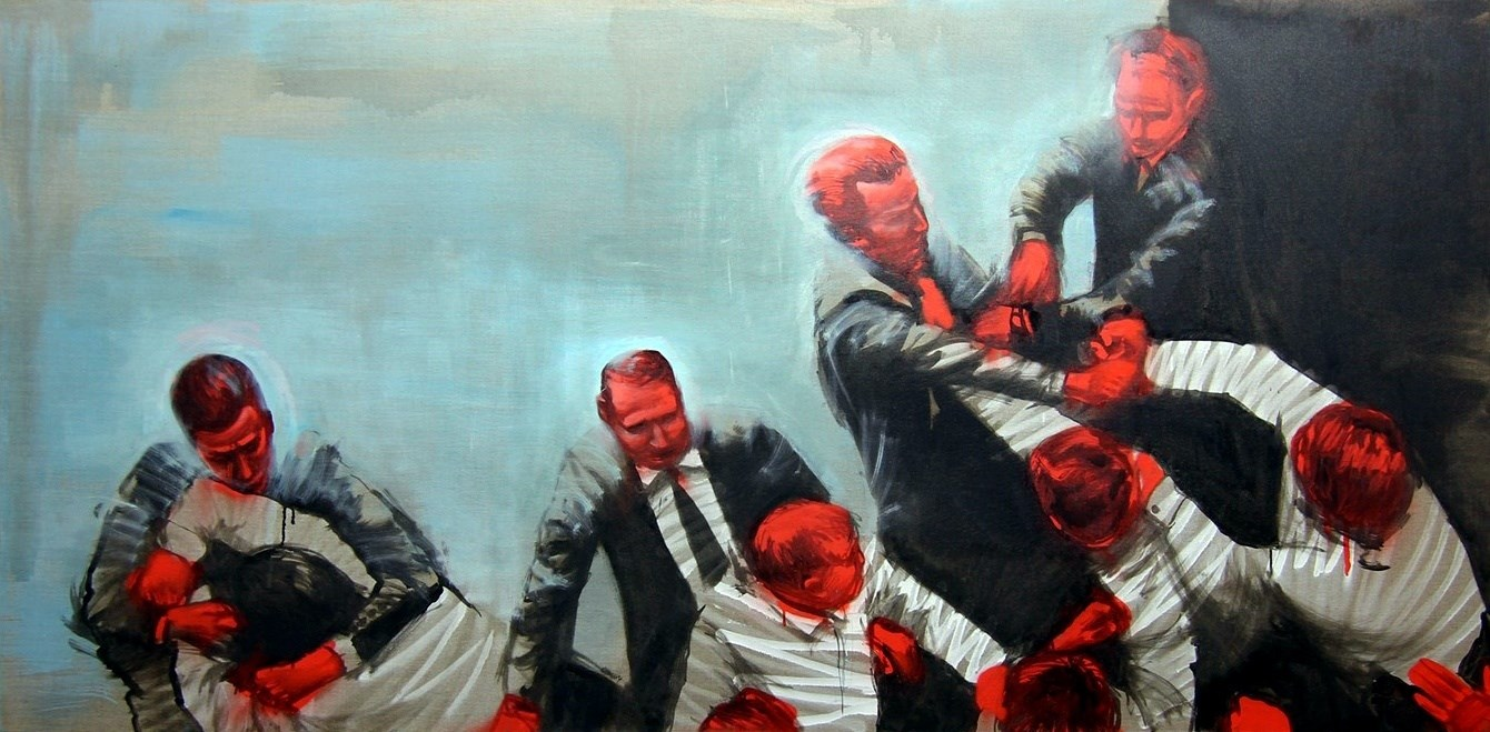 correlation/ fighters/ ukraine 1, original Big Canvas Painting by Guido Zimmermann