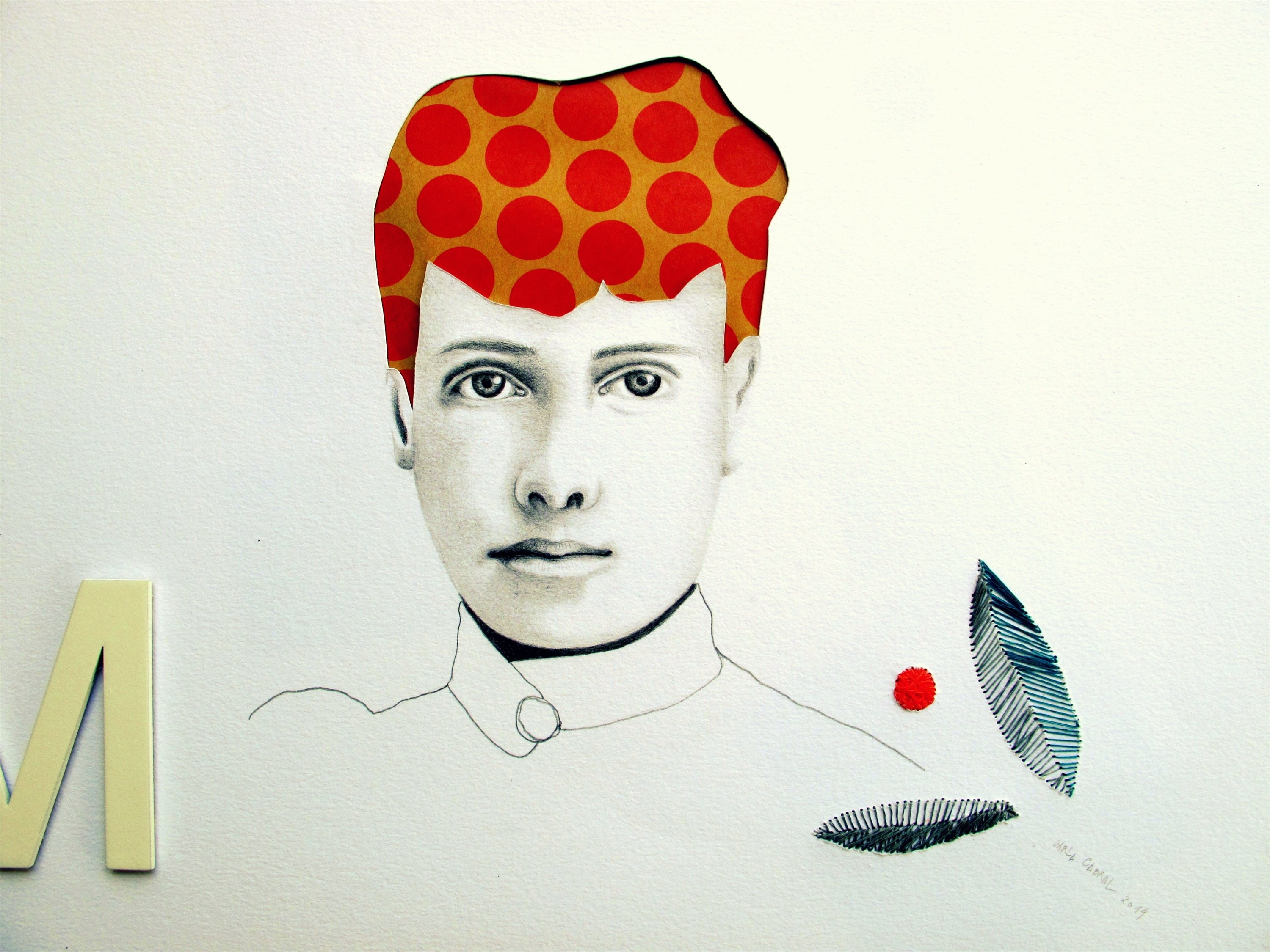 FRAU ELISABETH II, original Human Figure Collage Drawing and Illustration by Carla Cabral