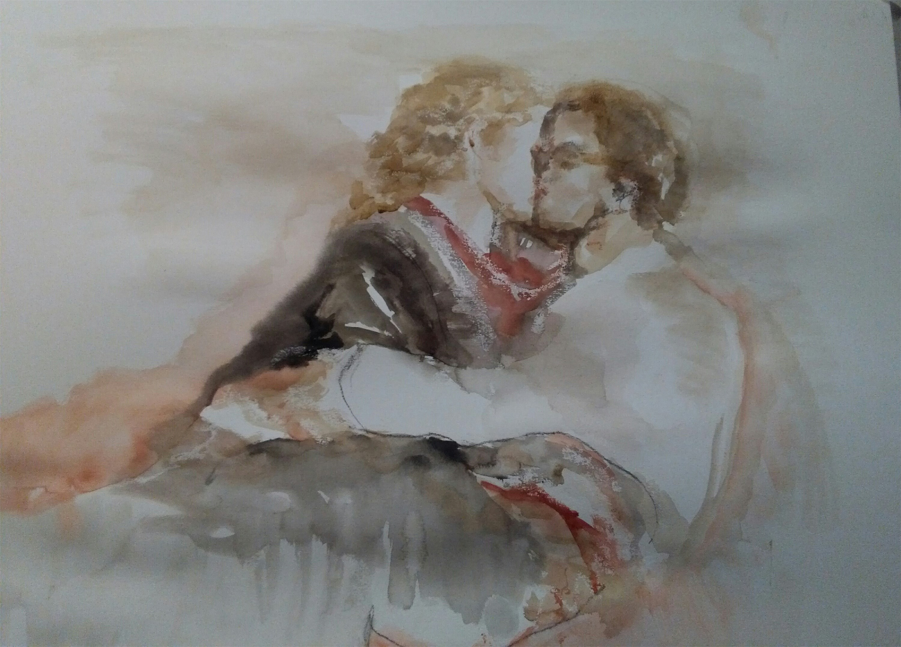 Eternal moments, original Human Figure Watercolor Painting by CARLA GONCALVES