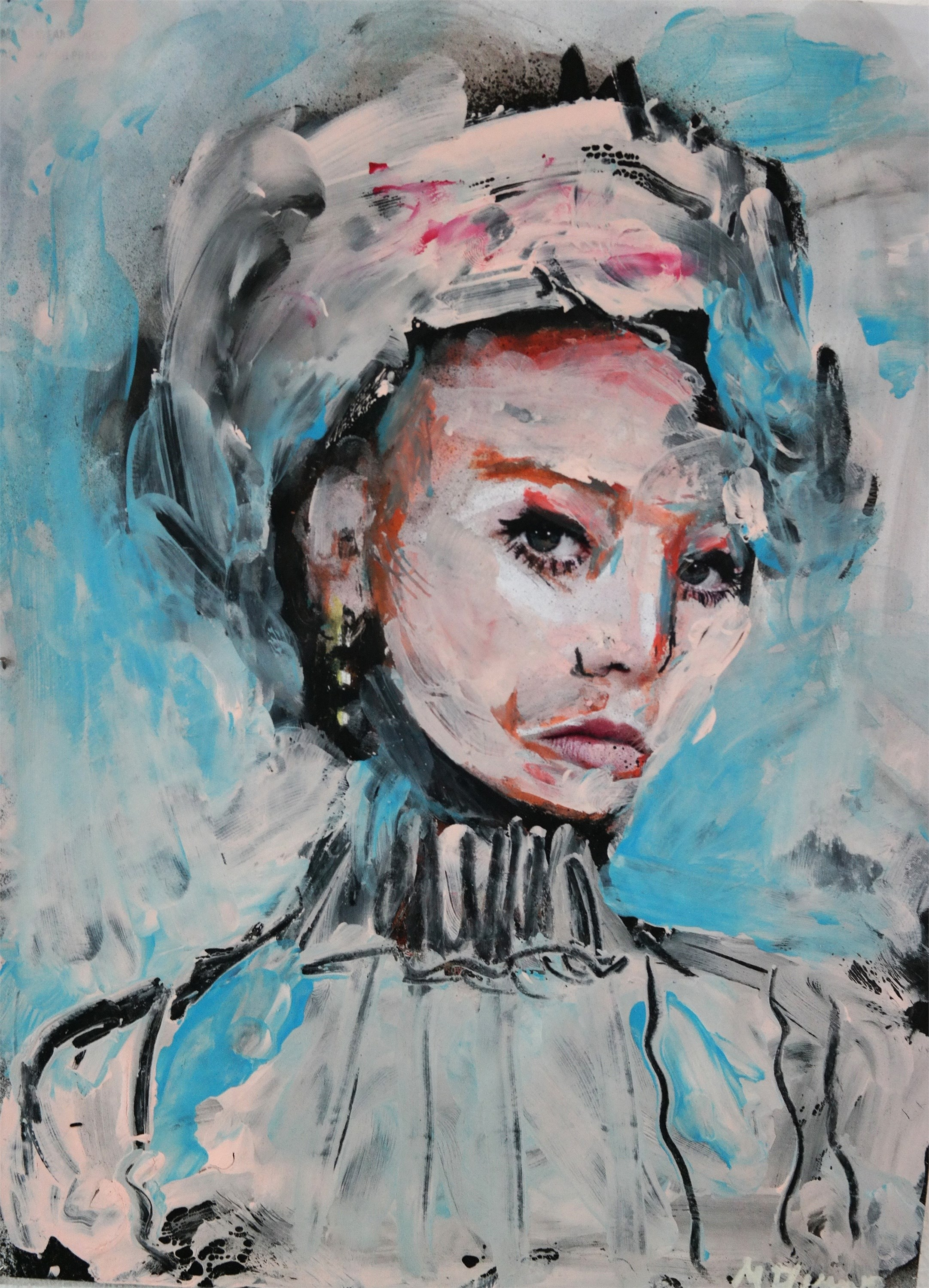 Gaivota, original Portrait  Painting by Margarida Fleming