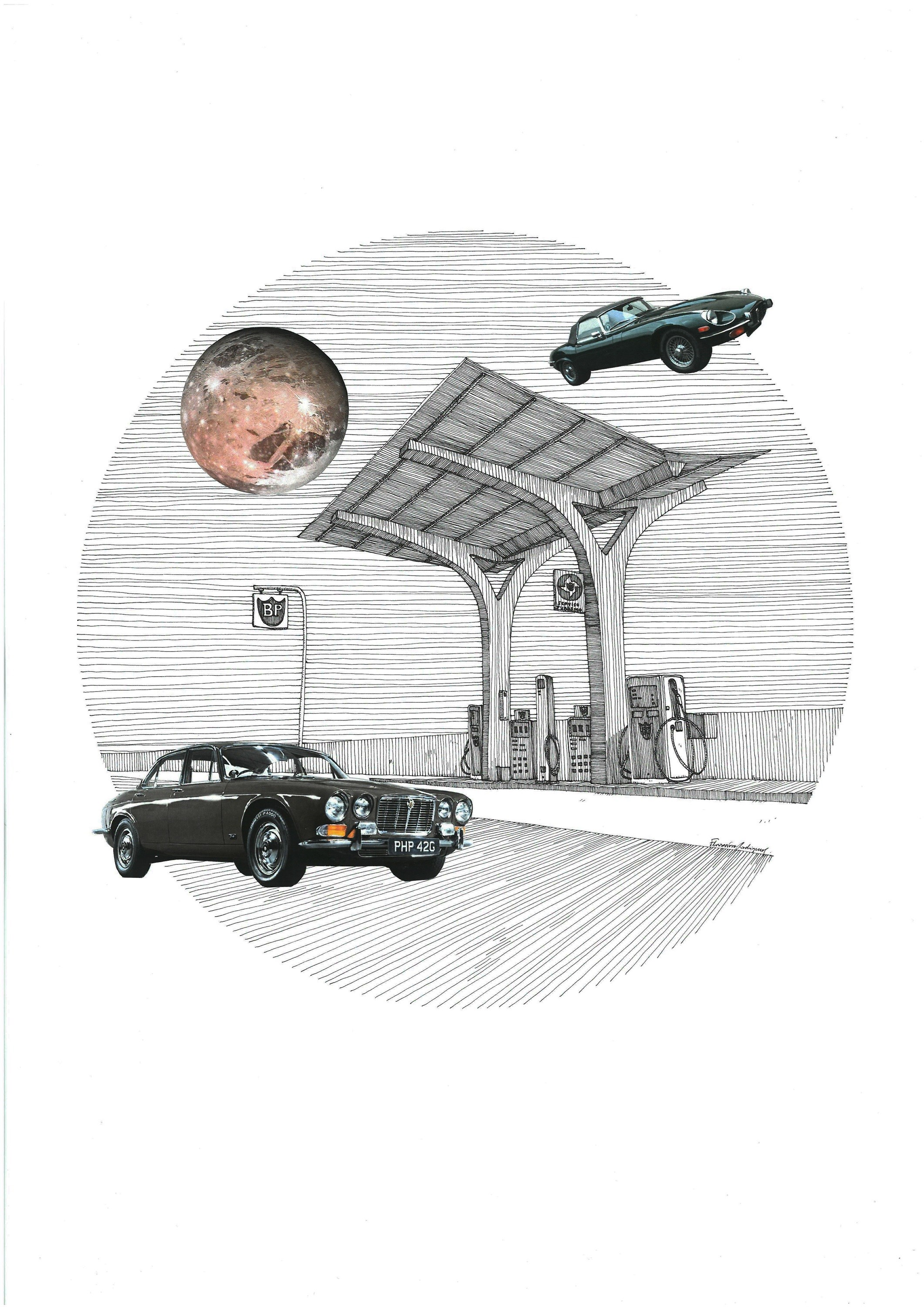 Citroen ID, original Architecture Collage Drawing and Illustration by Florisa Novo Rodrigues