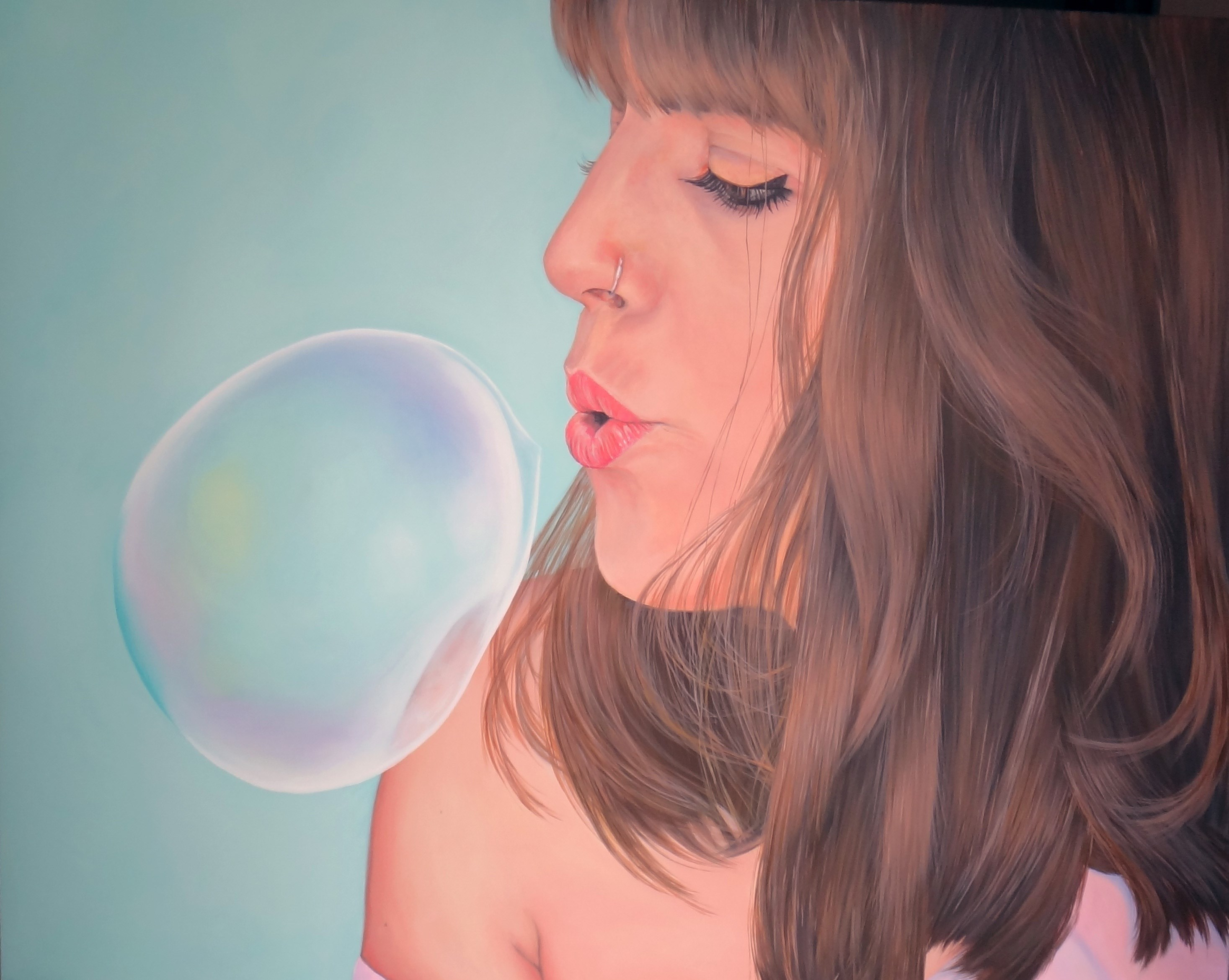 """Bubble"", original Body Acrylic Painting by Ursula Blancas"