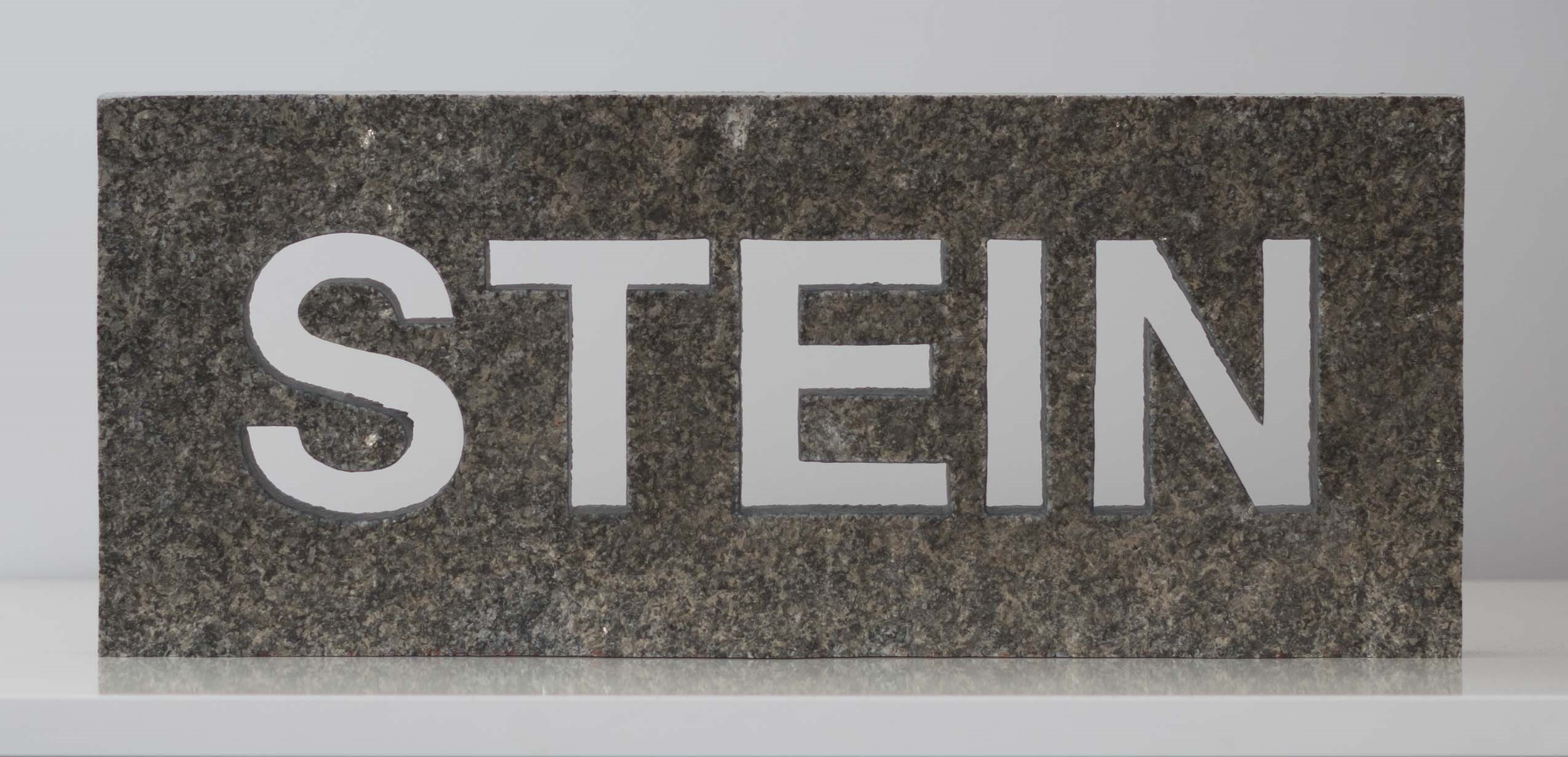 "Stein als Wort (Stone as a Word; on request also a version with the word ""STONE""), original Avant-Garde Granite Sculpture by Goeth Zilla"
