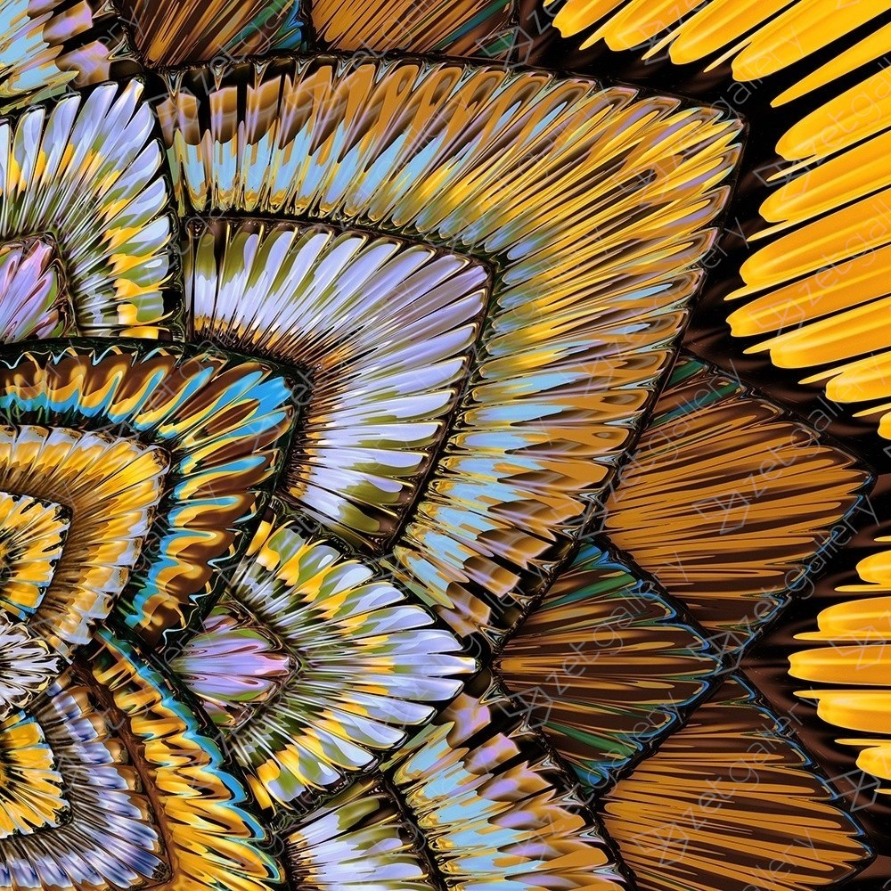 Collider / gilded mandala, original Abstract Digital Photography by Chuck Elliott