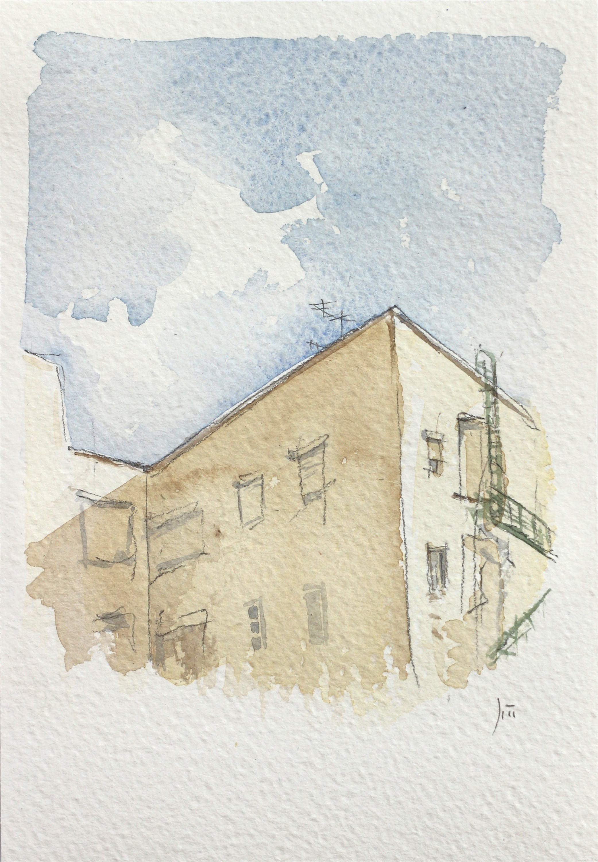Aguaceiros, original Architecture Watercolor Drawing and Illustration by João Gil Antunes