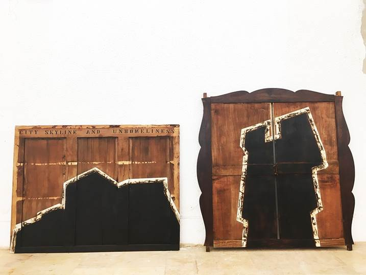 DEBRIS OF GENTRIFICATION, original Abstract Wood Sculpture by André Costa
