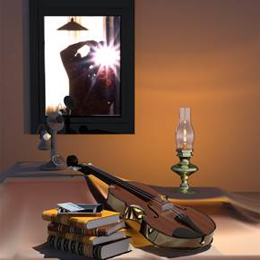 EL BODEGON DEL VIOLIN, original Still Life Digital Painting by juan aguirre