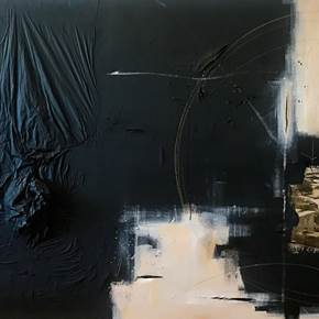 ALEGRE NEGRO, original Abstract Mixed Technique Painting by Ana Bonifácio