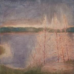 Four trees by a lake in Sweden (1 of 2), original Landscape Oil Painting by Taha Afshar