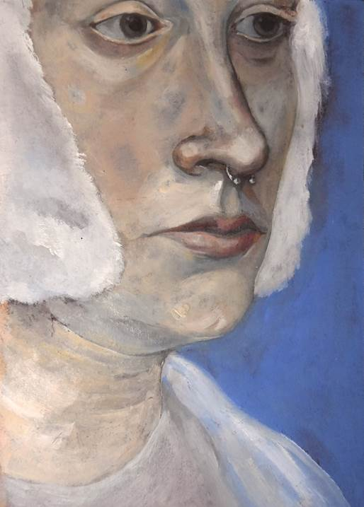 Lady with a Septum, original Body Oil Painting by Francisca  Sousa
