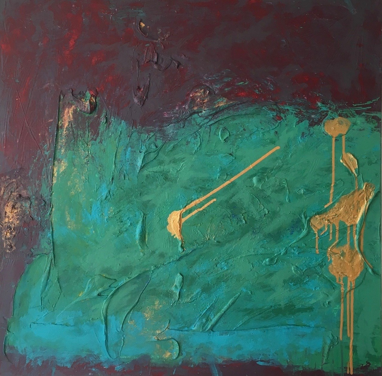 I shot my faith, original Abstract Acrylic Painting by Andrés Montenegro