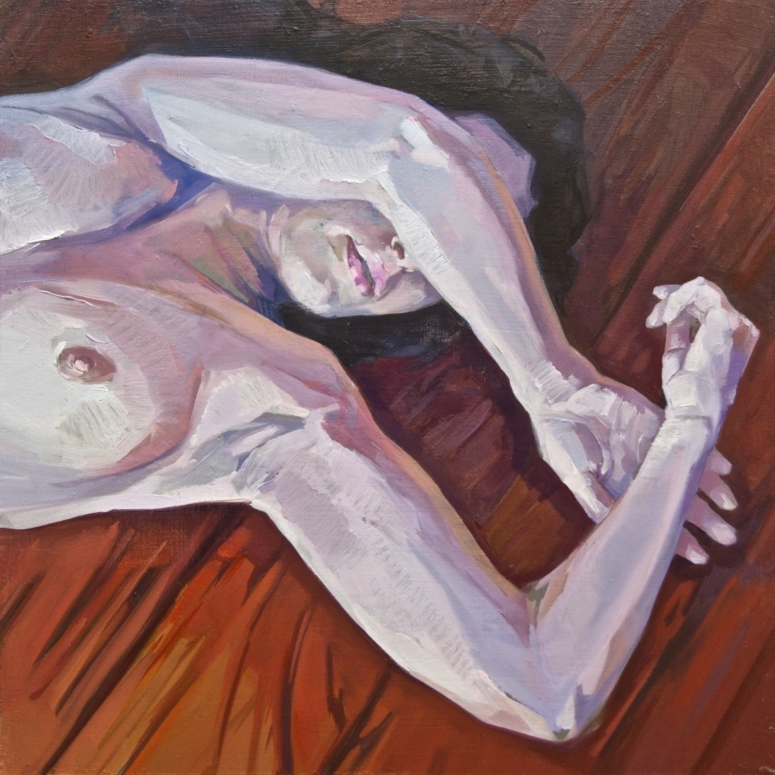 Sencilla tarima roja., original Body Oil Painting by Alejandro Casanova
