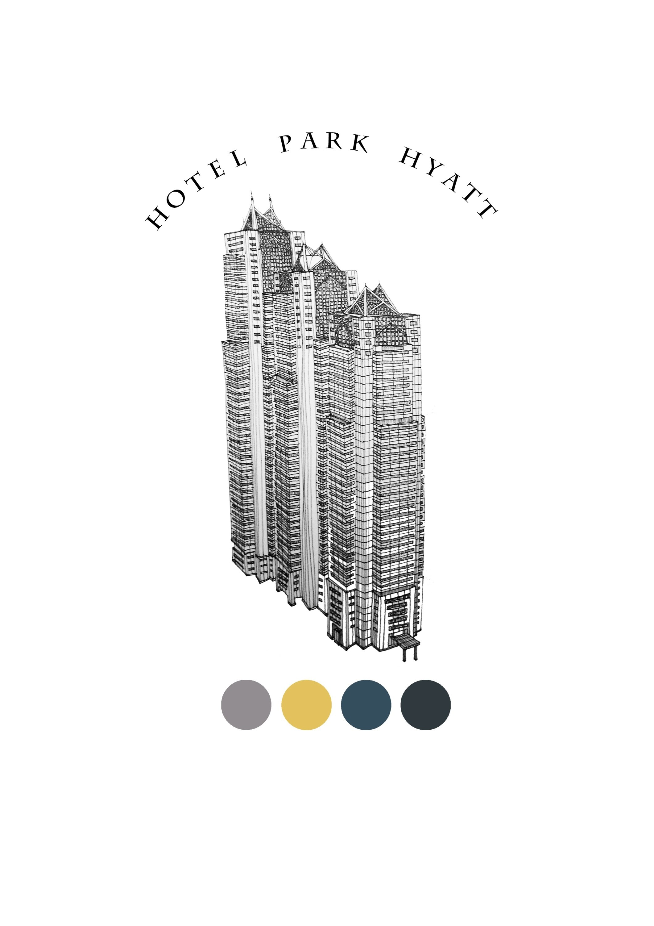 Hotel Park Hyatt, original Places Pen Drawing and Illustration by Florisa Novo Rodrigues