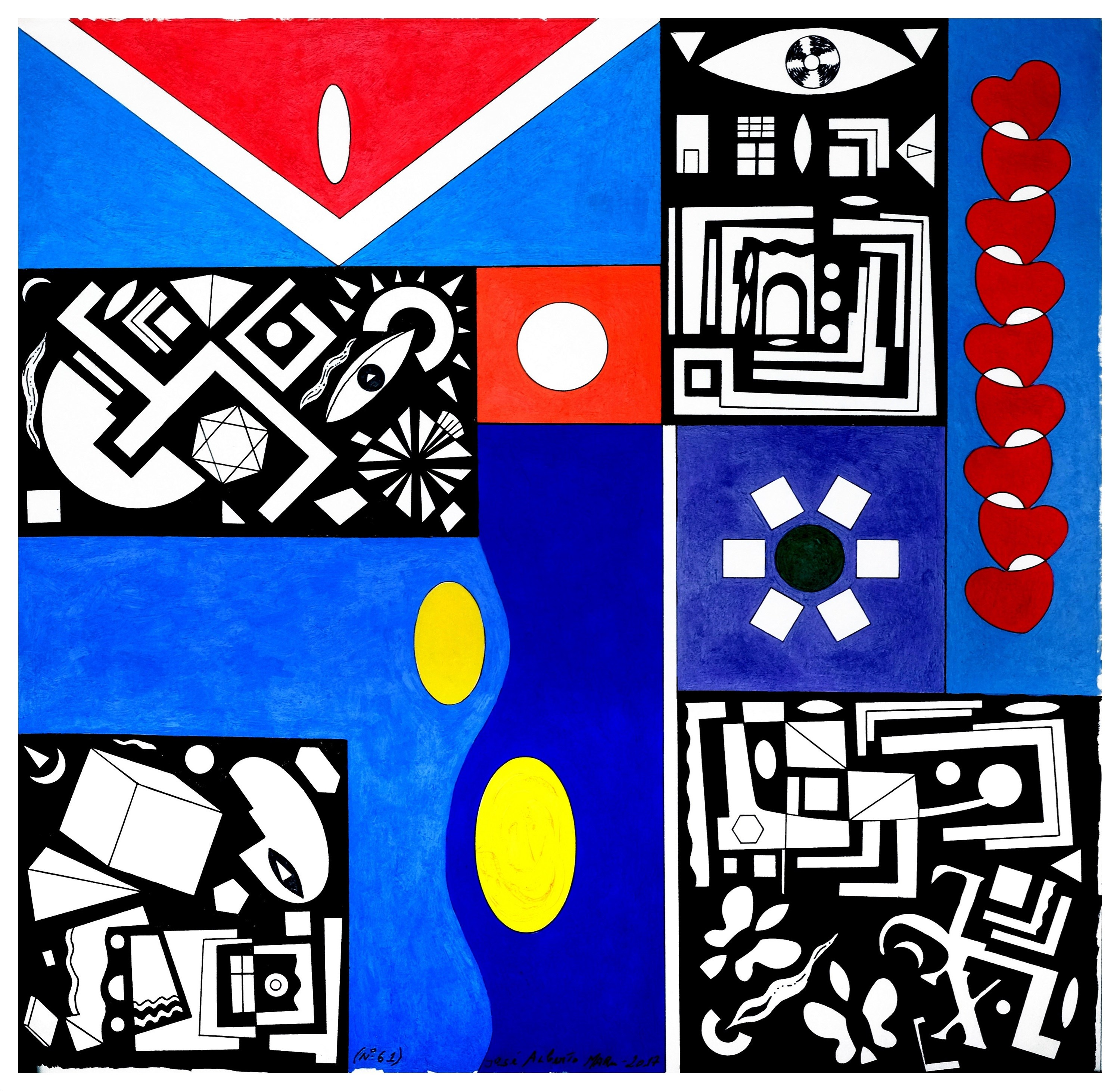 Série: pequenas sabedorias. Series: small wisdoms (Nº61), original Geometric Acrylic Painting by José Alberto Mar